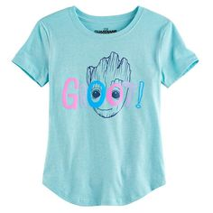 Girls 7-16 Guardians of the Galaxy Vol. 2 Groot Face Graphic Tee, Size: Medium, Light Blue