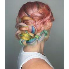 Pastel mermaid hair color and beautiful braids braided style by Shelley Gregory unicorn hair rainbow hair pastel hair color hotonbeauty.com