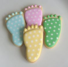 Polka Dot Baby Hands and Baby Feet Cookies  Baby by lorisplace