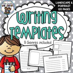 Writing Templates BUNDLE:This writing templates bundled pack includes writing templates for 8 various writing genres including:*Narratives / Fiction Texts*Recounts / Personal Narratives*Non-Fiction / Information Texts*Procedural Texts / Explanation Texts*Letters*Postcards*Cards*ListsIn this writing templates pack you will find 120 pages worth of writing templates that include both portrait and landscape designs - in a bundle to save you $$$Simply print out the individual pages you require…