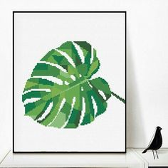 Leaf crossstitch Geometric Monstera Cross Stitch pattern Tropical plants embroidery pattern