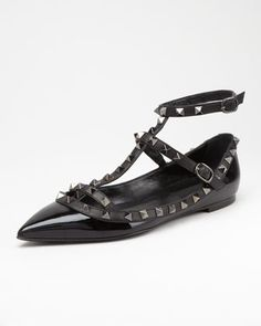 """Even the flats are a """"must have""""....Studded Ankle-Wrap Ballerina Flat by Valentino at Neiman Marcus."""