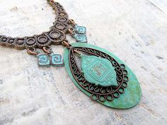 Bohemian necklace Ethnic statement necklace by Gypsymoondesigns