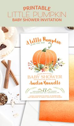 PUMPKIN BABY SHOWER INVITATION - A little pumpkin is on the way - Fall baby shower invitation