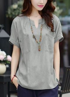 Latest fashion trends in women s blouses shop online for fashionable ladies blouses at floryday your favourite high street storeShop Floryday for affordable XL Short Sleeve Blouses. Floryday offers latest ladies' XL Short Sleeve Blouses collections t Blouse Styles, Blouse Designs, Short Kurti Designs, Blouse Models, Necklines For Dresses, Beautiful Blouses, Blouses For Women, Ladies Blouses, Women's Blouses