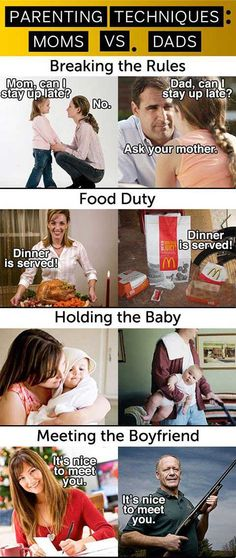 Mom vs. Dad… you don't know how much my kid eats McDonalds if I'm unable to cook.