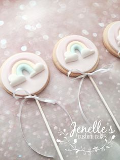 Pastel Rainbow Cookie Pops! By Jenelle's Custom Cakes.
