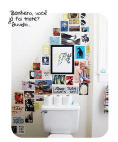 Casa de Colorir: inspiração pé no chão  deco p/ banheiro branco e triste!