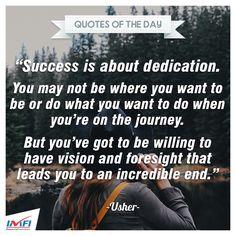 """""""Sukses adalah tentang dedikasi.  Anda mungkin belum bisa menjadi apa yang Anda inginkan ketika Anda berada di perjalanan. Tapi Anda harus mau memiliki visi dan pandangan jauh ke depan yang akan membawa Anda ke sebuah akhir yang luar biasa.""""  #quotes #kerja #motivasi #kantor #pembiayaan #indomobil #finance"""