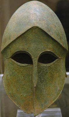 Corinthian helmet in the British Museum collection.