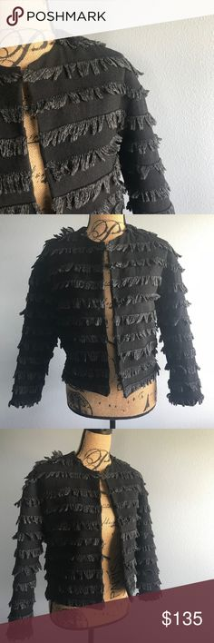 """Topshop Black and Grey Layered Fringe Jacket 4 Topshop Black and Grey Layered Fringe Jacket Blazer, Size 4,  No button Design, EUC, Like New, Smoke Free Home  Measurements are approx.   Length: 20"""" Sleeve: 17 1/2"""" Chest: 34"""" Topshop Jackets & Coats Blazers"""