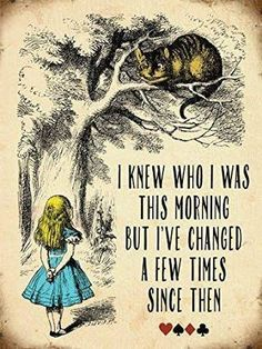 "Alice In Wonderland ""I knew who I was this morning but I've changed a few times since than."" quote from Alice in Wonderland Alice And Wonderland Quotes, Alice In Wonderland Artwork, Alice In Wonderland Pictures, Cheshire Cat Alice In Wonderland, Kitchen Pictures, Disney Quotes, Alice Quotes, Book Quotes, Quotes To Live By"