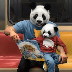 nevver: Take the A Train Matthew Grabelsky New York Subway, Nyc Subway, Matisse, Picasso, Surrealism Painting, Animal Heads, Bored Panda, Pet Clothes, Pet Portraits