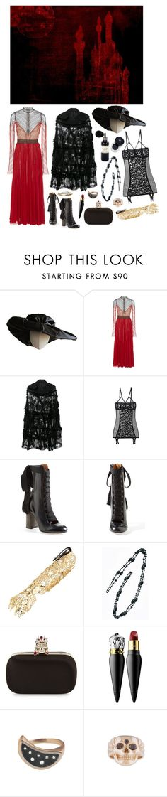 """""""Midnight in Krevborna"""" by ghoulnextdoor ❤ liked on Polyvore featuring Heather Huey, J. Mendel, Comme des Garçons, ELSE, Chloé, IDRISS GUELAI ATELIER, Alexander McQueen, Christian Louboutin, Mad et Len and Chanel"""