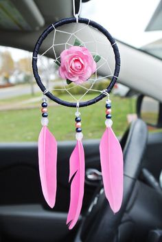Excited to share this item from my #etsy shop: Pink Car Dream Catcher, Pink Car Accessories, Cute Car Charm, New Car Gift, Interior, Car Mirror Decor  #caraccessories #giftideas #wishlist #dreamcatcher #pink
