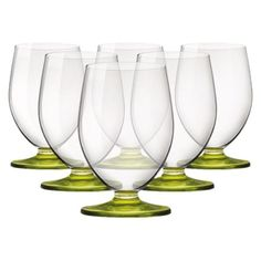 I pinned this Tulip Beverage Glass with Lime Green Stem - Set of 6 from the Bormioli Rocco event at Joss and Main!