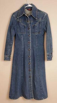 vintage landlubber long denim coat / dress * snap front * medium blue #Landlubber #JeanJacket