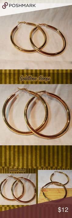 "SPECIAL EARRINGS DEAL⤵️SEE PRICES BELOW⤵️ 🚩BUNDLE DEAL:$    9.00 For 1                               16.00 For 2                                14.00 For 3  MIX & MATCH (ANY EARRINGS WITH THIS DEAL) PRICE IS FIRM UNLESS BUNDLED🚩  NWT 🆕️ GOLDTONE  LARGE HOOP EARRINGS.     2-3/4"" DROP  PERFECT WITH ANY OUTFIT... COMFY ENOUGH TO WEAR FROM DAY TO NIGHT. PLEASE ASK QUESTIONS BEFORE PURCHASING, BECAUSE ALL SALES ARE FINAL.   THANK YOU FOR LOOKING!!!!! Jewelry Earrings"