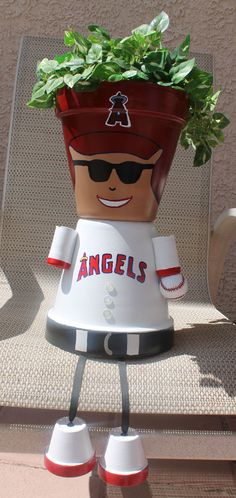 Clay Pots LA Angels baseball player - garden planter - yard art - painted terracotta clay pots with ribbon & golf ball - image only