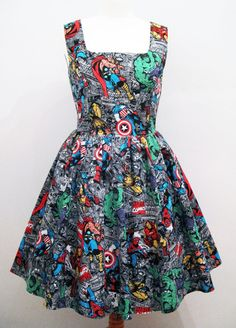 Marvel Avengers Dress Alternative Handmade To Order Rockabilly Kitsch Tea Skater Spider Man Iron Man Thor Captain America Hulk Wolverine on Etsy, $60.00