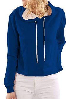 f805c29ae9b83 M2MO Women's Casual Solid Plus Size Pullover Hooded Sweatershirt Blouse  Nike Hoodie, Sweatshirt, Hoodie
