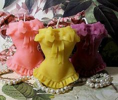 Beeswax Ruffle Corset Lingurie Candle on Etsy, $12.50