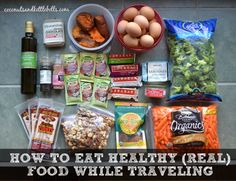 Although your eating won& be perfect, there are a number of things you can do to reduce the already existing stress on your body that traveling brings, which is crucial to optimal function both on the trip, and after you return home. Healthy Travel Food, Healthy Foods To Eat, Healthy Snacks, Healthy Recipes, Diabetic Snacks, Road Trip Essen, Gourmet Recipes, Whole Food Recipes, Road Trip Snacks