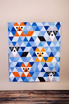 Fox And Raccoon generous size 45 1/2 x 52 by CityQuilts on Etsy
