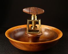 Wood Nut Cracker Bowl by BradSearsWoodturner on Etsy, $150.00--sold