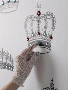 Love this wall stencil with jewels idea for a girls room.