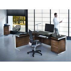 BDI Sequel x Rectangular Natural Walnut Computer Desk with Back Panel Modern Home Office Furniture, Modern Office Desk, Business Furniture, Furniture Showroom, Home Office Desks, Furniture Design, Office Set, Office Ideas, Office Designs