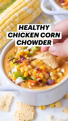 Corn Chowder Soup, Crockpot Chicken Corn Chowder, Best Corn Chowder Recipe, Soup Recipes With Chicken, Recipes With Corn, Recipes For One, Slow Cooker Corn Chowder, Healthy Chicken Tortilla Soup, Summer Corn Chowder