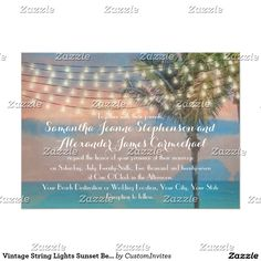 Vintage String Lights Sunset Beach Wedding