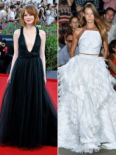 SAG Awards Predict-a-Gown: What Your Fave Stars Should Wear | EMMA STONE | Emma is the queen of slightly unconventional gowns. She's sported crop tops, went short at last year's SAG Awards  and most recently wore pants on the red carpet. So this crop top/full skirt number from Christian Siriano's Spring 2015 line might be just the quirky look the Female Actor in a Supporting Role nominee would love. And the white color would also look stunning against her fair skin tone (since she's the only…
