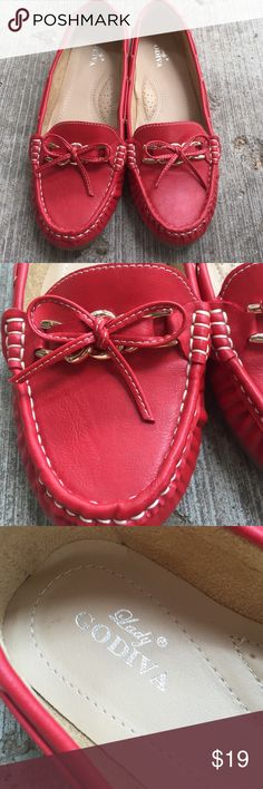 Lady Godiva Red Deck Boat Shoes MAKE OFFER Lady Godiva red deck boat shoes. Excellent used condition. Please see photos. Nice gold accent chains with leather ties, all leather shoes. With nice arch support size 9 Lady Godiva Shoes Flats & Loafers
