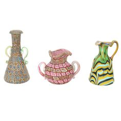 Three important Venetian Glass vases by Fratelli Toso.  Italy (Murano)  1895-1914