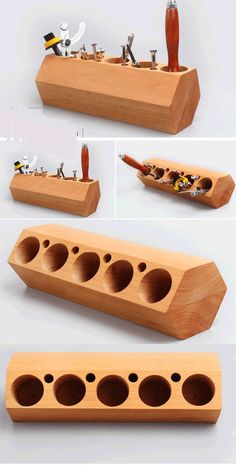 Wood Block Pencil and Pen Holder