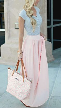 Pins And Needles Yoke Chiffon Maxi Skirt - Pink at Urban Outfitters Greys and Blush