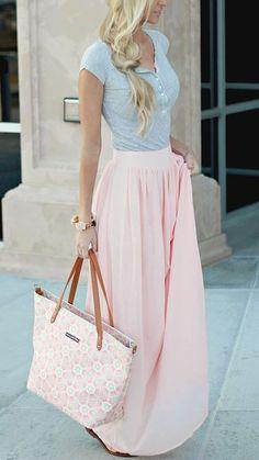 Pins And Needles Yoke Chiffon Maxi Skirt - Pink at Urban Outfitters