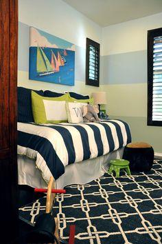 Boy bedroom - navy, blues, greens || by Jessica Bennett Interiors, via Houzz