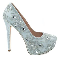 About This Shoes :Doll up yourself with these marvelous high heel dress pump featuring rhinestone crystal embelishments, covered platform, glitter upper and almond toe. Slip into these brilliant pumps Stiletto Pumps, High Heels Stilettos, Sexy Heels, Silver Strappy Heels, Closed Toe Shoes, Platform High Heels, Fashion Night, Dress And Heels, Trendy Shoes
