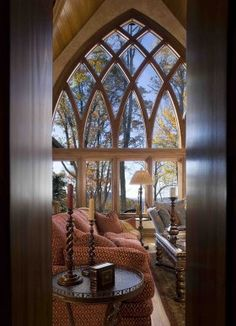 Love the cathedral like windows. Western NC Mountain Home Great Room, Walnut Cove, Arden, NC Lodge Style Decorating, Tuscan Decorating, House Windows, Windows And Doors, Beautiful Architecture, Architecture Details, Beautiful Villas, Beautiful Homes, Deco Originale