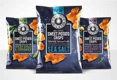 Red Rock Deli Sweet Potato Crisps — The Dieline - Branding & Packaging Design Designed by AKA Brand Design. Chip Packaging, Packaging Snack, Biscuits Packaging, Food Packaging Design, Brand Packaging, Product Packaging, Packaging Ideas, Sweet Potato Crisps, Potato Chips
