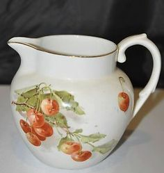 SOLD! What a deal!! Vintage Edwin M Knowles pitcher with cherry motif. So cute for a retro kitchen theme!