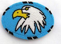 Turquoise Blue Seed Beaded Thunderbird Pattern Eagle Beadwork Belt Buckle X15009 #Handmade #Classic