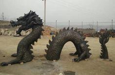 bronze dragon garden statues - All For Garden Paper Mache Sculpture, Lion Sculpture, Animal Garden Ornaments, Greek Statues, Buddha Statues, Dragon Project, Dragon Garden, Tire Art, Bronze Dragon