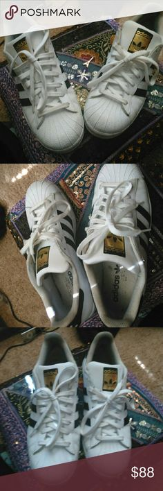Adidas classic all stars White with black stripes Like new, barely worn. Size 10 women's  Price is firm Adidas Shoes Sneakers