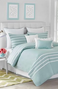 Jill Rosenwald Capri Stripe Duvet Cover & Shams available at Dream Bedroom, Home Bedroom, Bedroom Ideas, Coastal Bedrooms, Coastal Bedding, Coastal Decor, Aqua Bedding, Coastal Master Bedroom, Coastal Entryway
