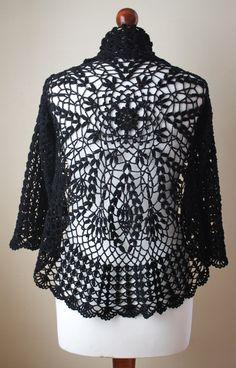 crocheted bolero in black