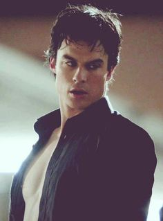 Damon right after hot hotel make out with Elena is interrupted by Jeremy - that face!